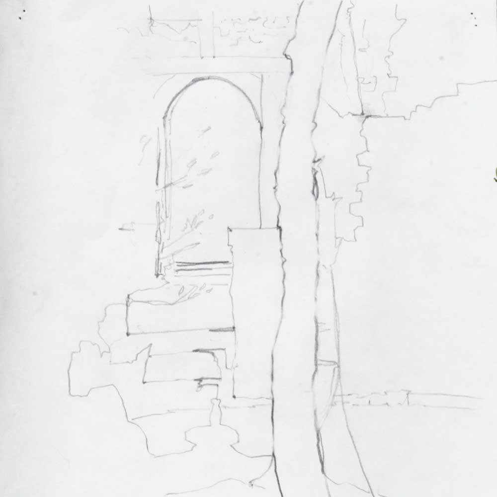 Archway, Saint Avit Senieur, grahite, dessein, drawing, contour, utline, architeactural, anchor points in drawing, under drawing for watercolour, scoring in,