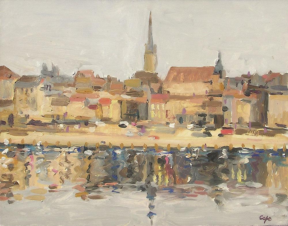 peinture bergerac,quai salvetat,french urban landscape,ville sud ouest,toits, reflets
