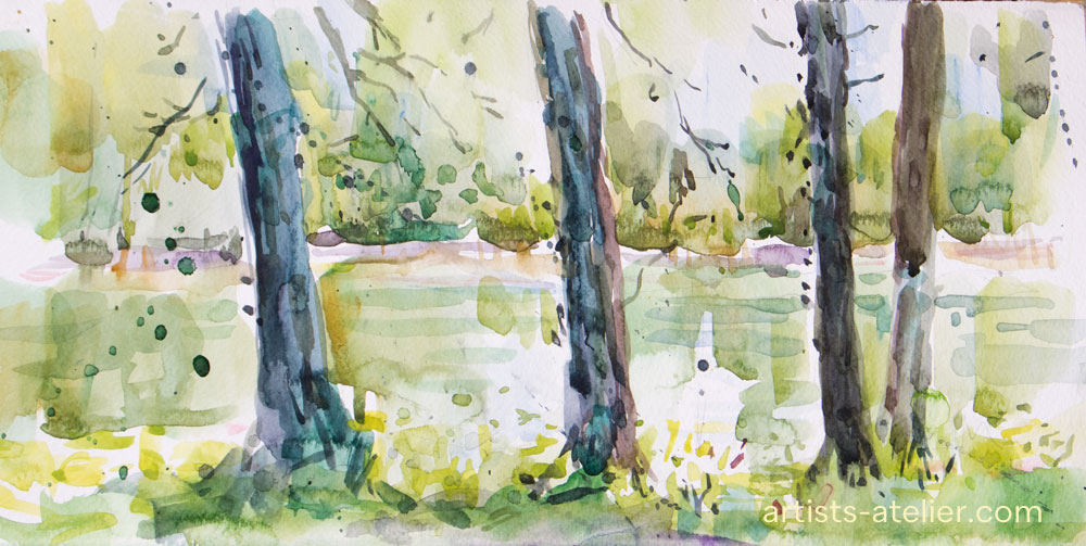 watercolour, sketch,,trees, pond, green,french,poplars