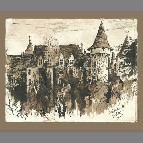 'Château de Bridoire' Watercolour & Ink