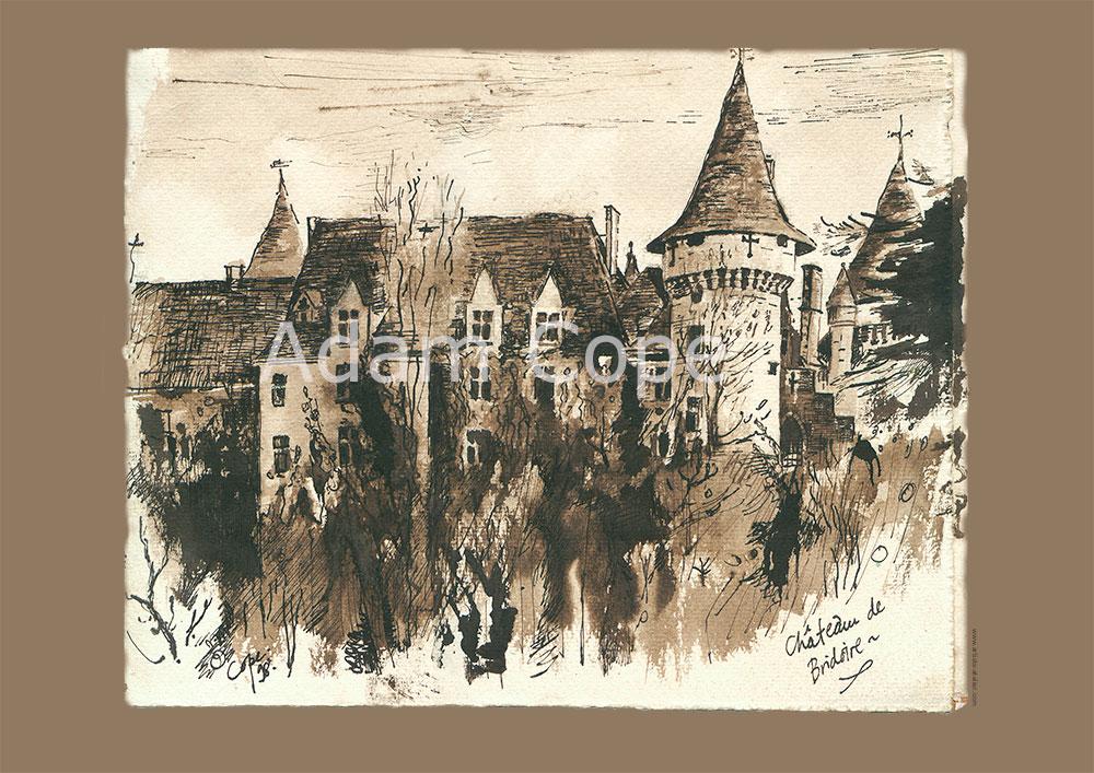 Château de Bridoire,encre, Monument historique, Dordogne,dessin,sepia