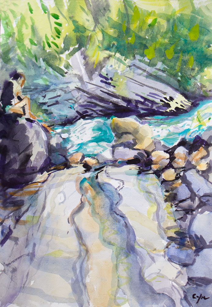 watercolour,cascade,mountain, rocks, dreaming,colourist,stream