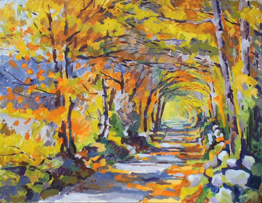 bright,colour, autumn,oil painting, tableau huile ,chemin, causse, quercy,lot, automn
