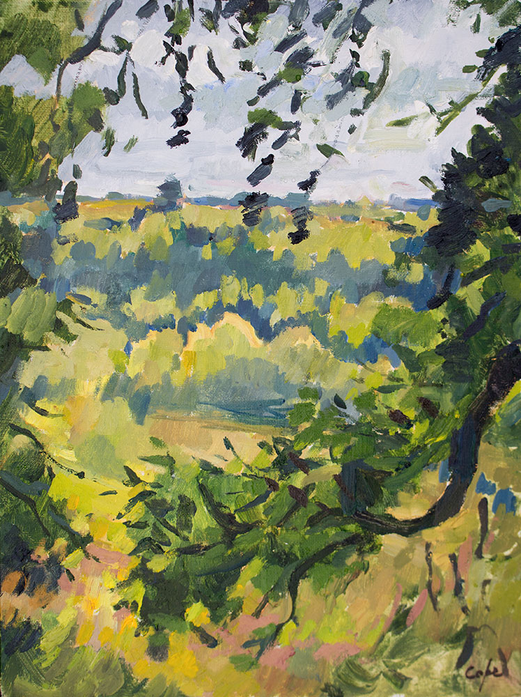 oil painting,oaks autumn,gensac,Dordogne, france, green landscape,