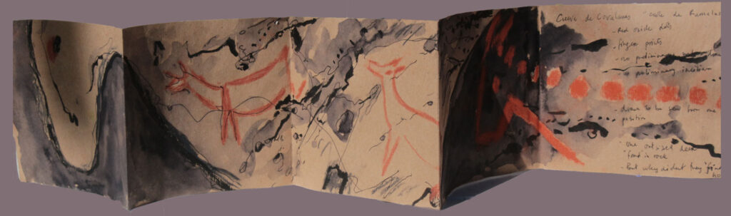 Carnet de Voyage, Covalangas, Prehistory, Accordian on kraft paper, drawing, annoted.