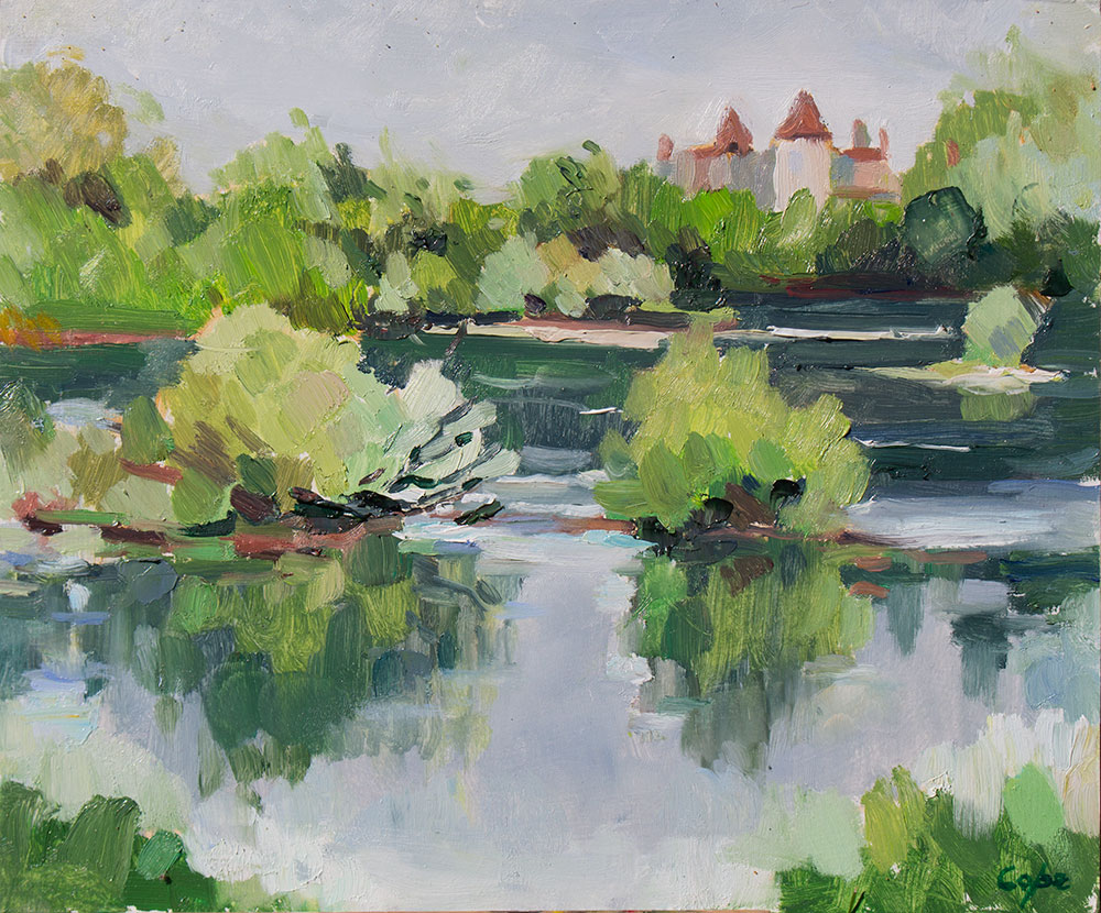 oil painting, dordogne,river,chateau,green,island,water,plein air,alla prima
