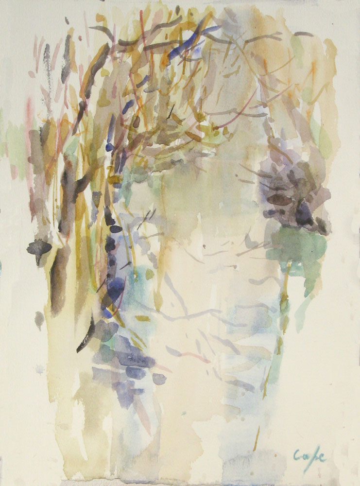 dropt, rive,r watercolour stream, winter, trees, wet on wet, sumi-e