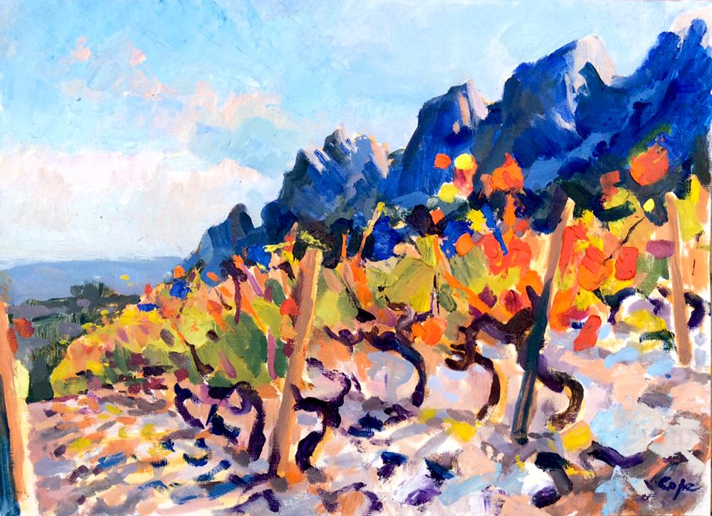 peinture vignes,provence, cotes de baux,plein air,colourist alla prima,