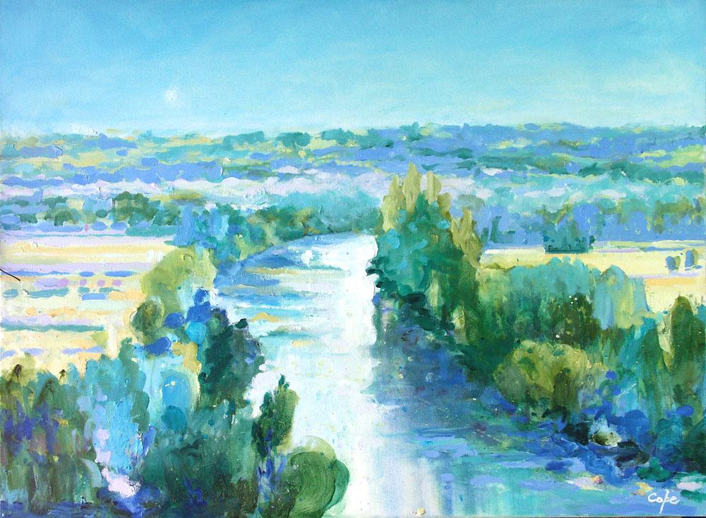 landscape,blue, art,Dordogne, L'Espérance, rivier,moon rise,