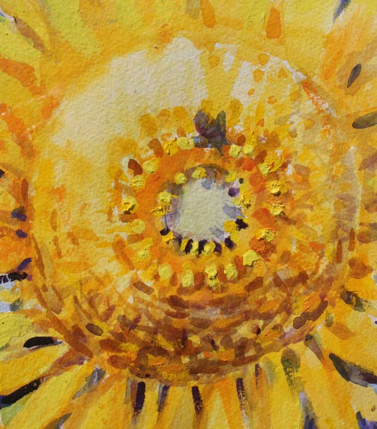 heart of gold, sunflower watercolor, bee art, acrylic