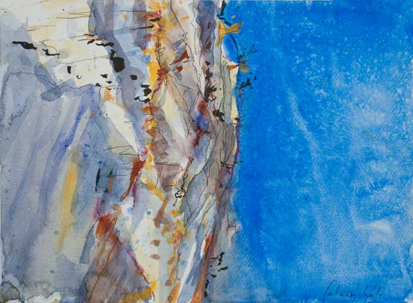 Falaise, Célé,lot, aquarelle,