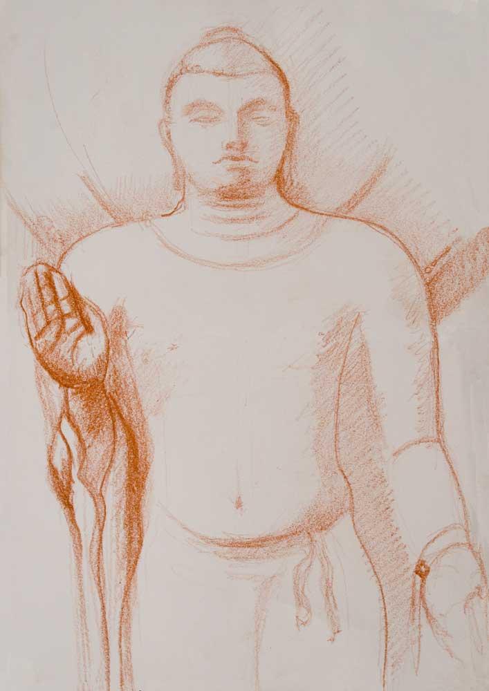 drawing, sanguine, sarnath  statue, british museum, abahya, frearless,