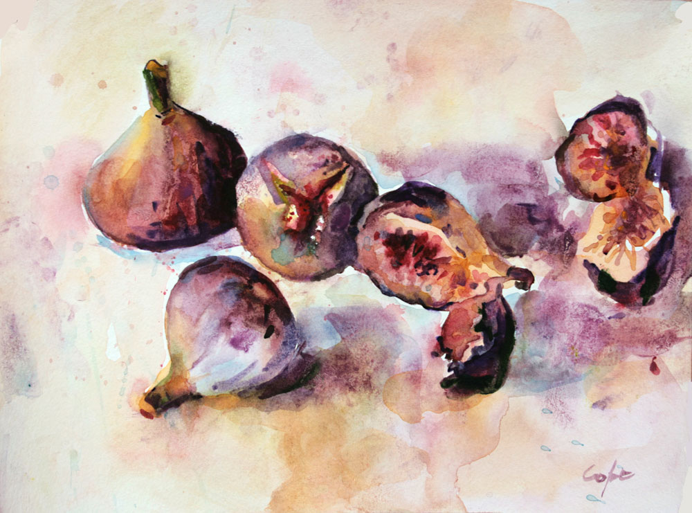 wet-in-wet, granulation, grainulation,permamnent mauve,loose, watercolor, figs, fruit, still-life
