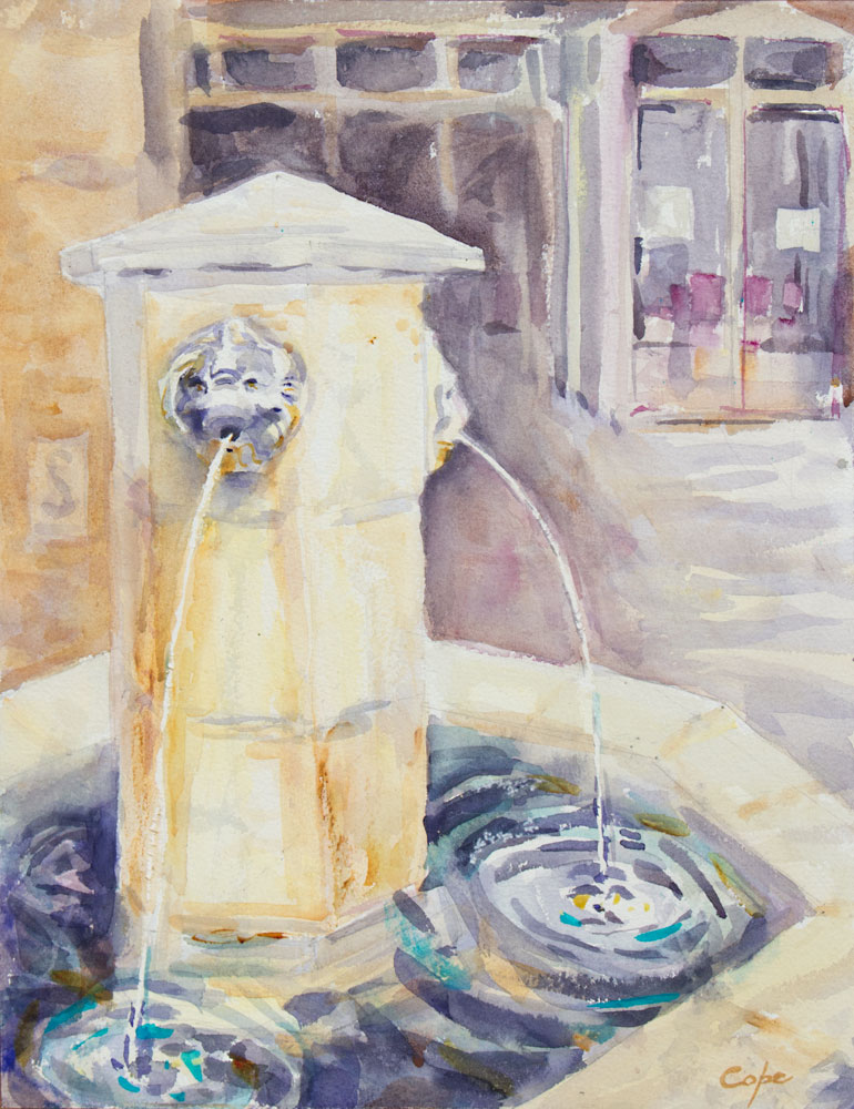 watercolour,fountain,Girondin statue, sunshine, shadows, bright light