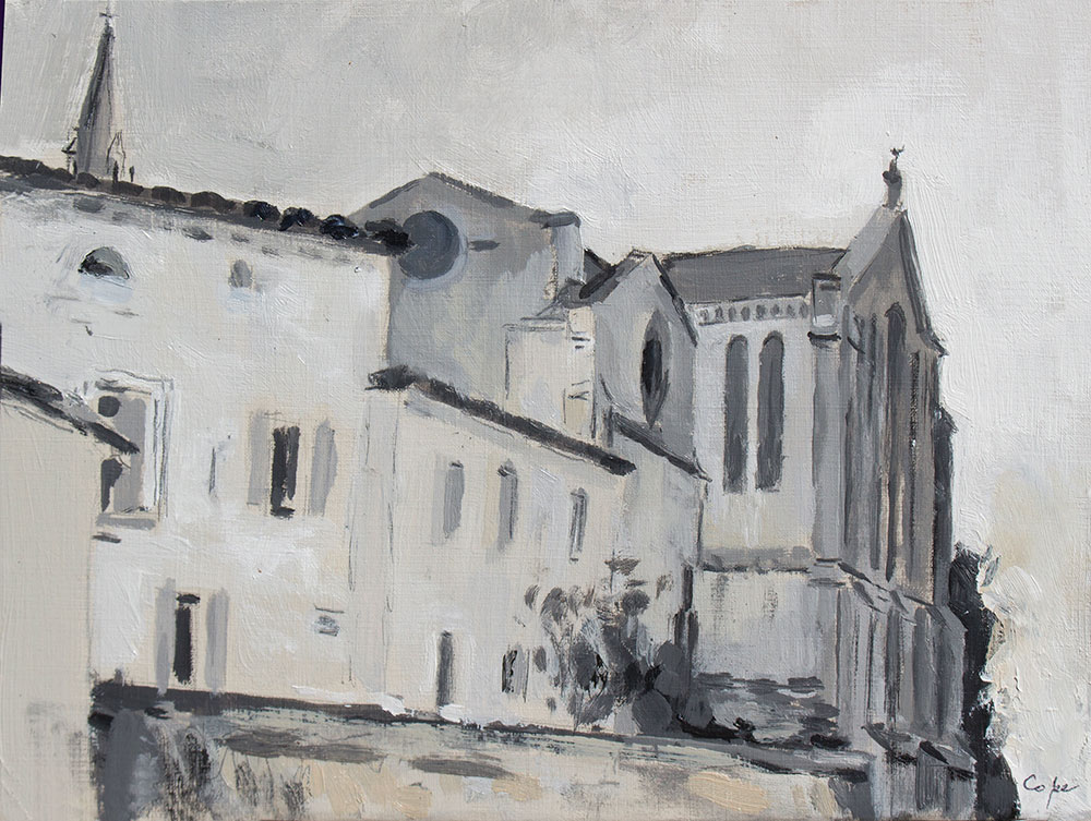 value study,gensac, aquitaine, oil painting, tonality, valeurs,architecture,black & white