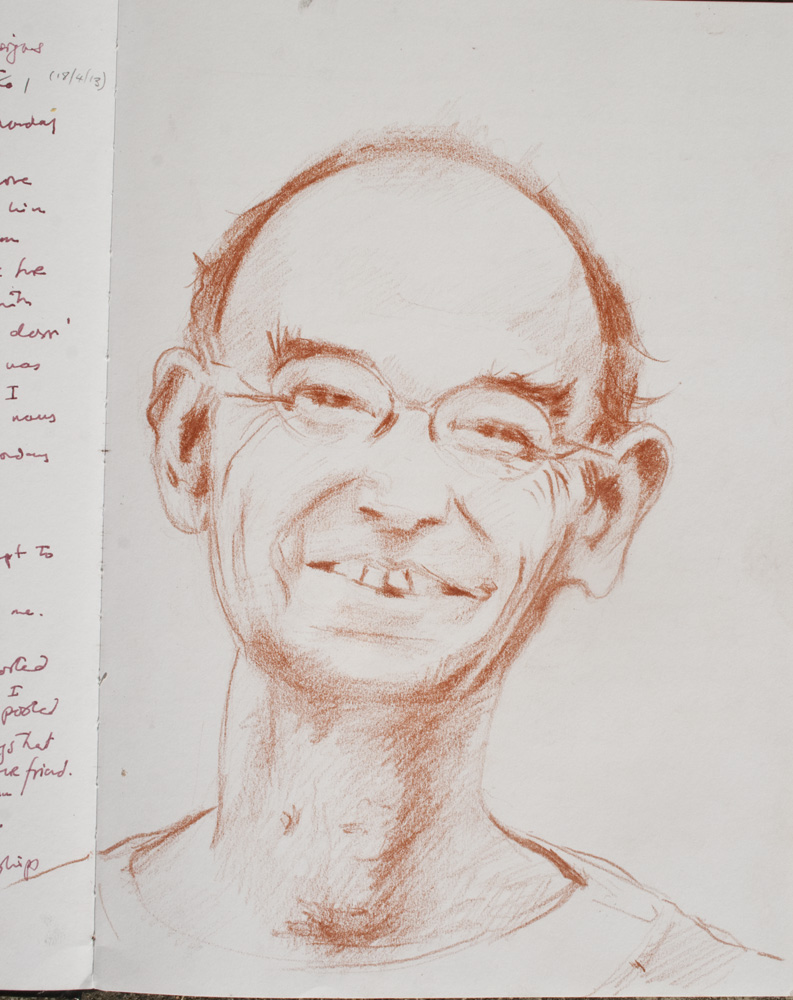 sanguine portrait,man, glasses, smilling face, drawing from photo