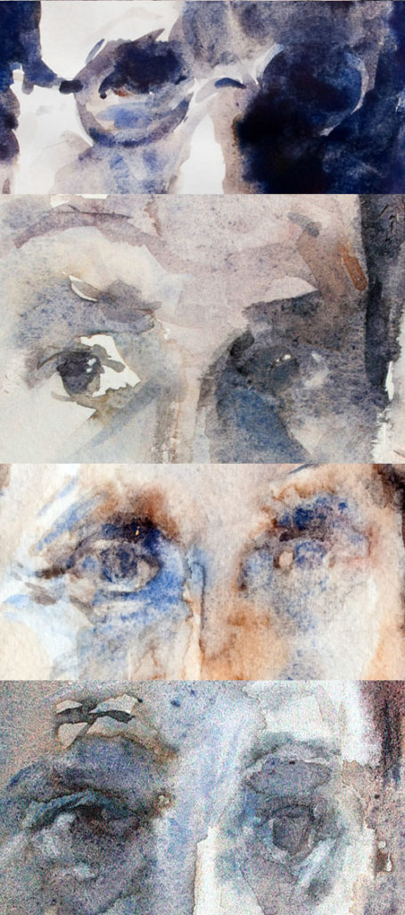grisaille,mouille sur mouille, auto portrait,aquarelle,yeux, eyes, watercolour