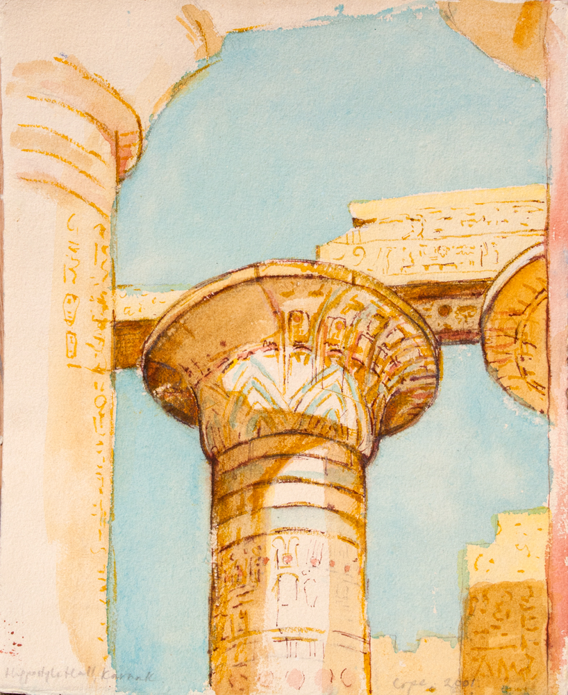 watercolour painting karnak egypt temple hippostyle hall new kingdom orientalist bright desert light