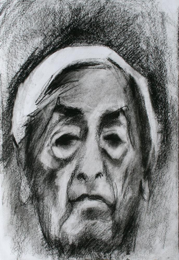 Krishnamurti, pastel drawing, portrait, white hair,