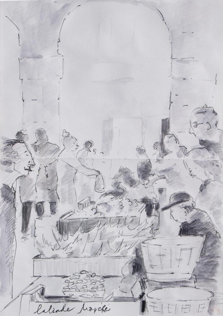 tinted drawing, french market, dordogne, lalnide marche, pen &ink,