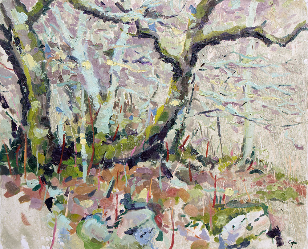 lichen,forst,wild wooods, trees, causse de quercy, lot, oil painting, winter trees, palette knive, texture,