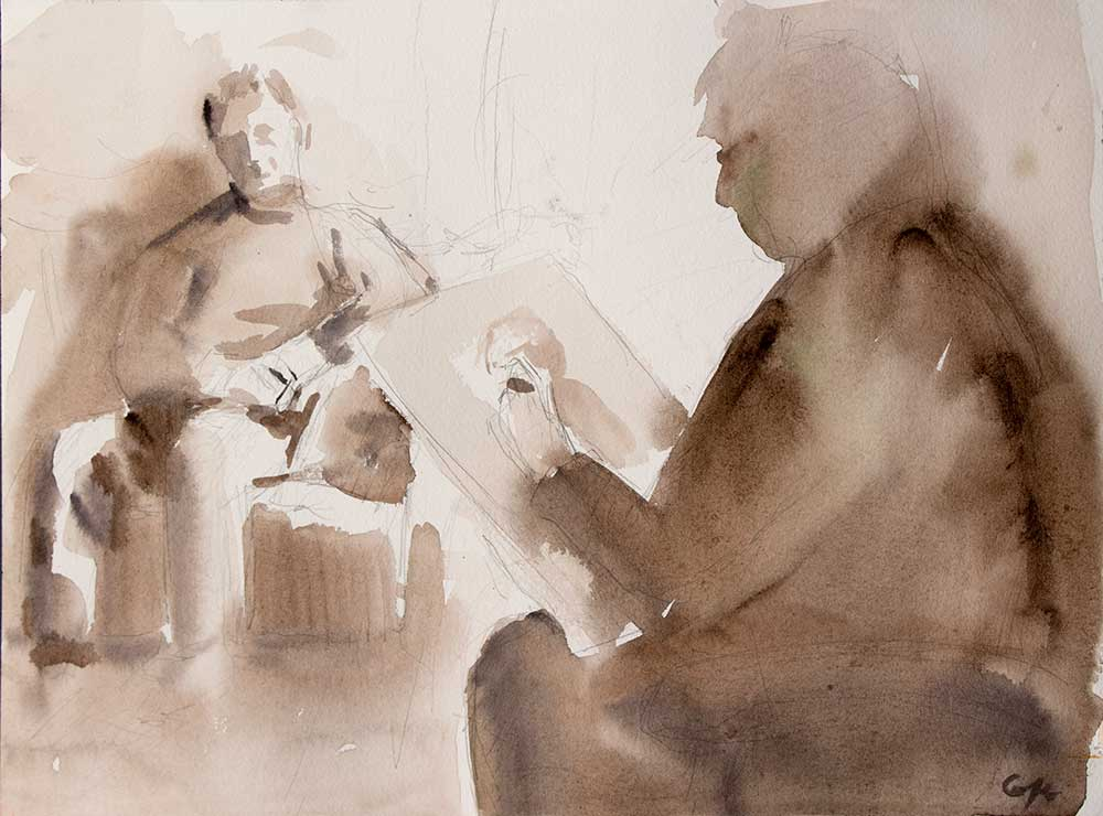 Life drawing class sepia watercolour artist & her model