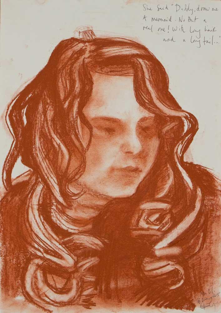 snaguine, pastel portrait, young girl, mermaid, hair,