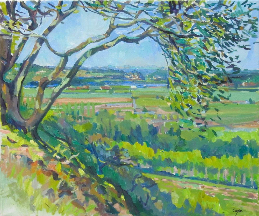 oil painting, dordogne, Limeuil, Cezanne, vezere,green art,