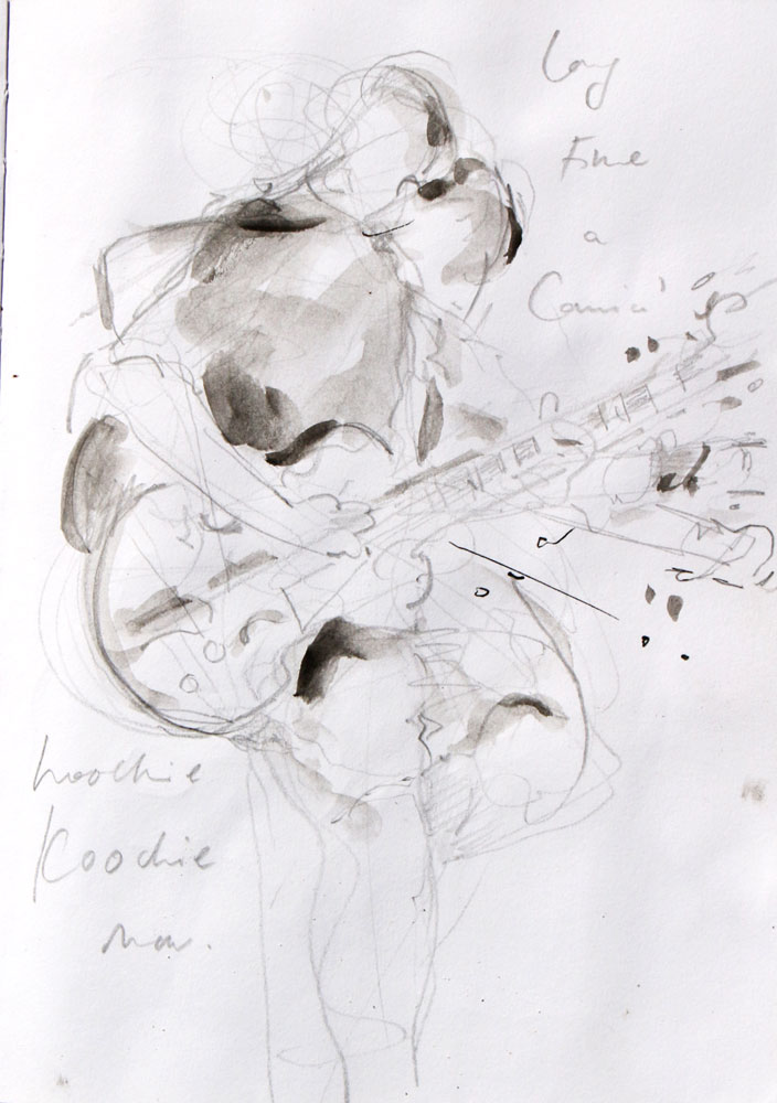 blues guitar, drawing, gesture drawing, syncopation, music, verve, sketch, musician