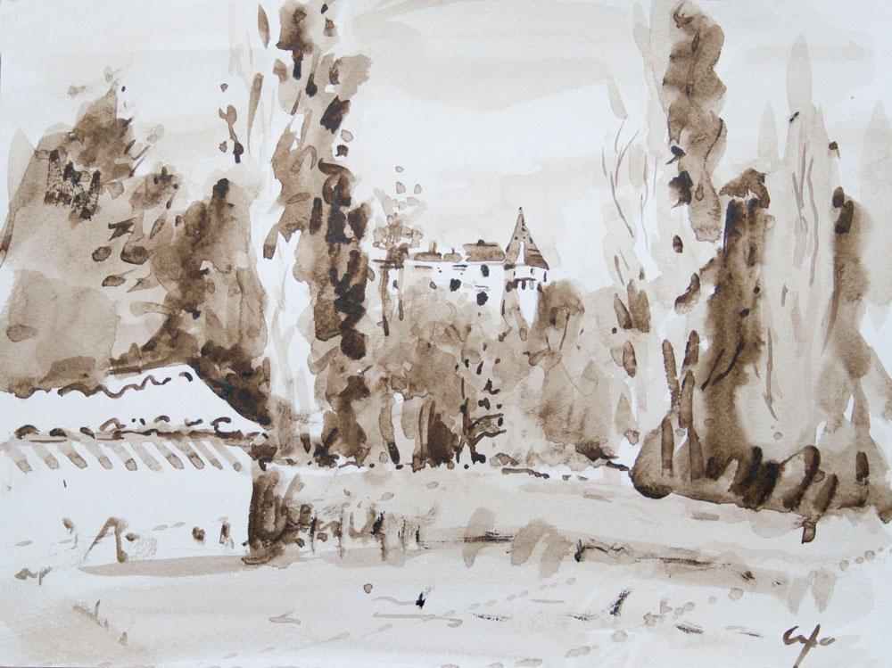 sepia,french chateau,longas, dordogne,aquarelle