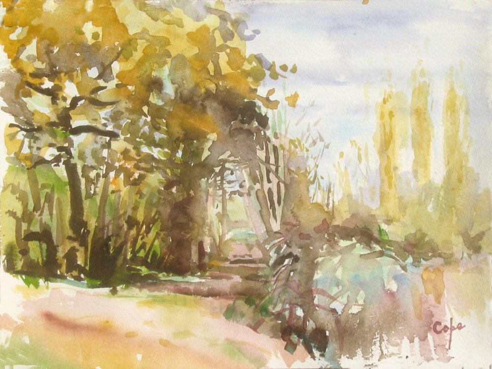 wet-in-wet,watercolour,dordogne,woods,autumn