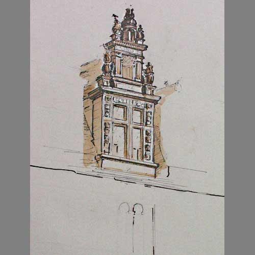 'Lucarne, Chateau de Lanquias' Pen & Ink. 28 x 38 cm