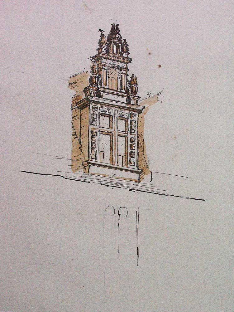 Lucarne, Chateau de Lanquais, dordogne, philibert de l'orme,architecture pen ink,drawing, patrimoine, perigord