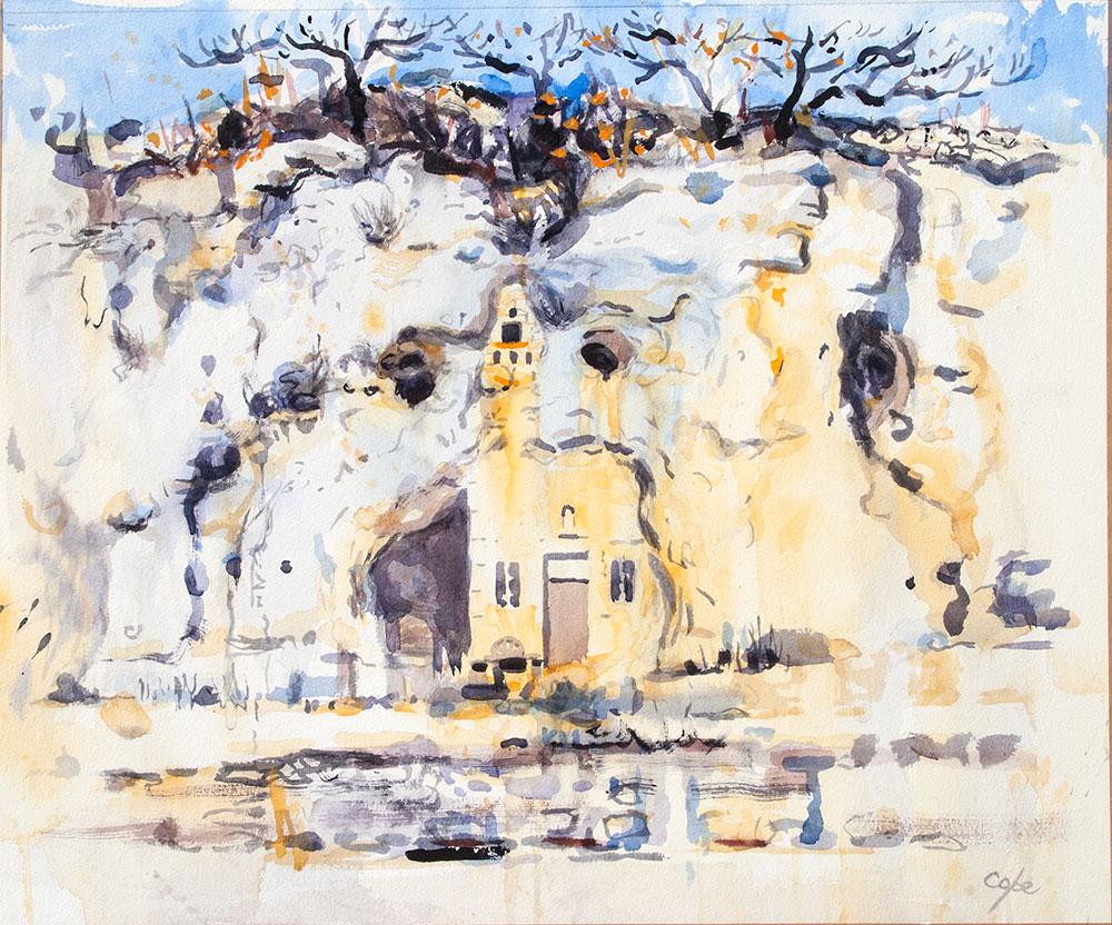 Maison Trogolodyte,aquarelle,dordogne,falaise,grotte,cave,cliff,