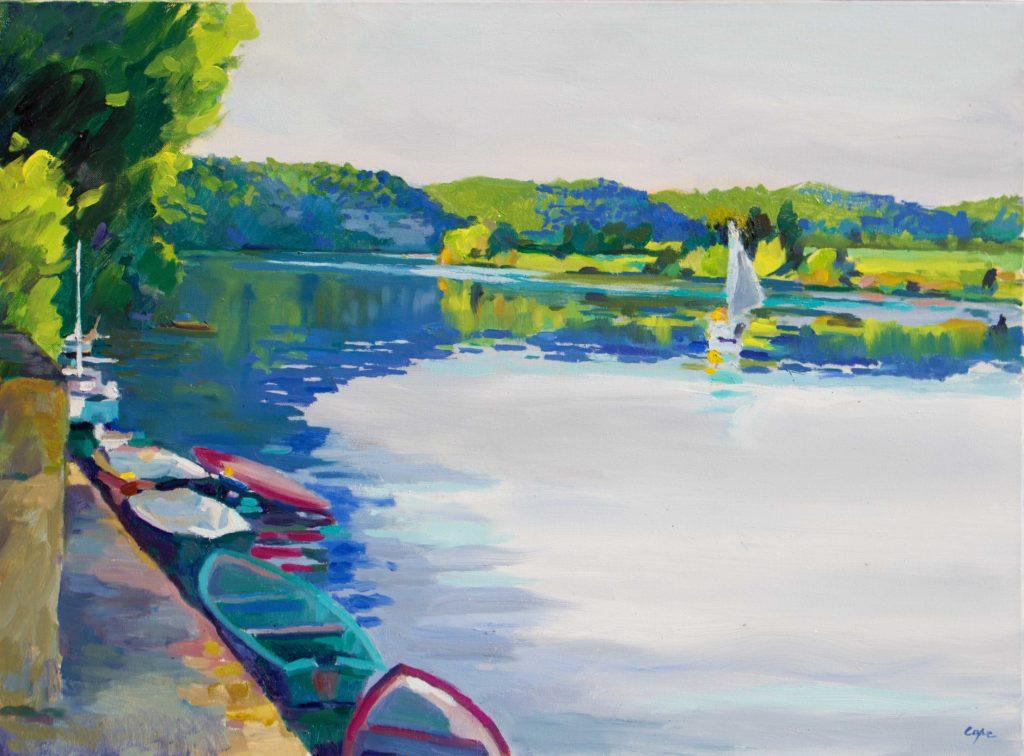 Dordogne,riviere, navigation, bateau a voile, reflets