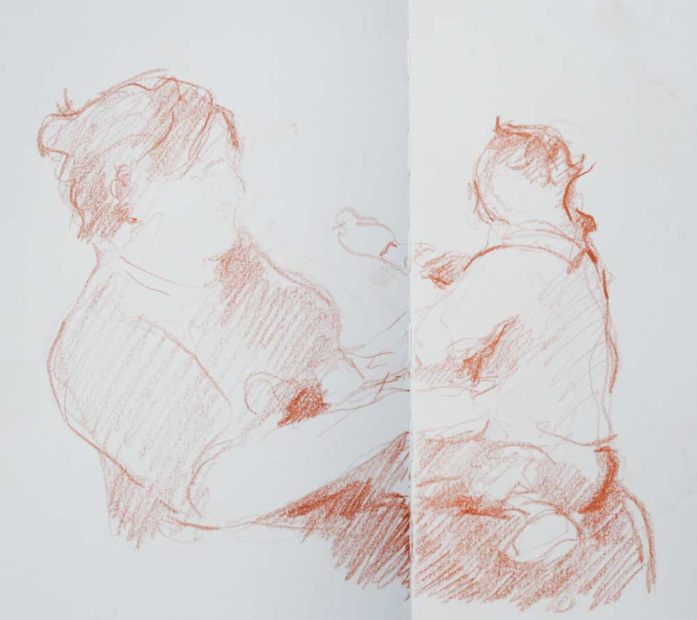 Mother & Child, sanguine drawing, gesture drawing, delicate, light touch,