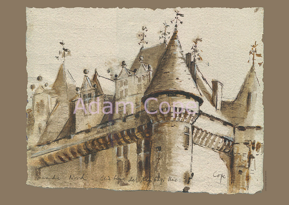 Château de Monbazillac,encre,dessin,dordogne,french chateau,sepia,
