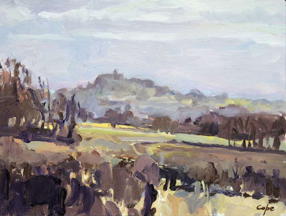 pleinair, alla prima,winter, landscape painting,study, monfllanquin, village perche, lot garonne