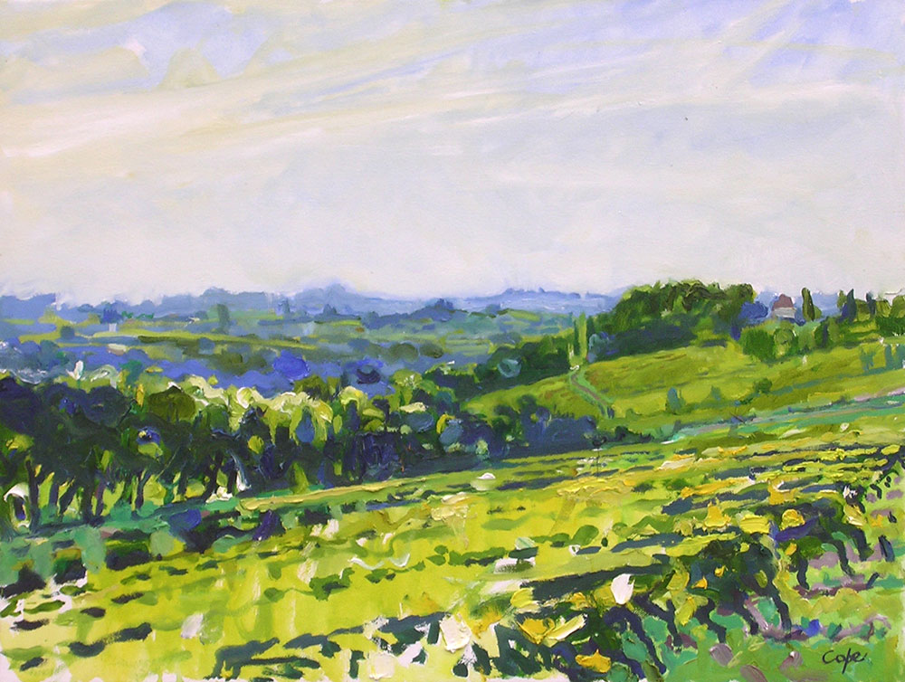 summer vines, oil painting, pleinair, green, landcsape, mobazillac, montlong