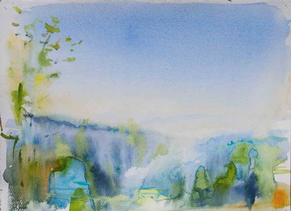 watercolour, aquarelle, sunny misty, morning, wet-in-wet