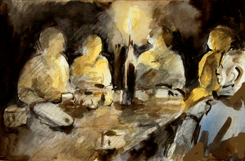night painting,candle light,sepia,