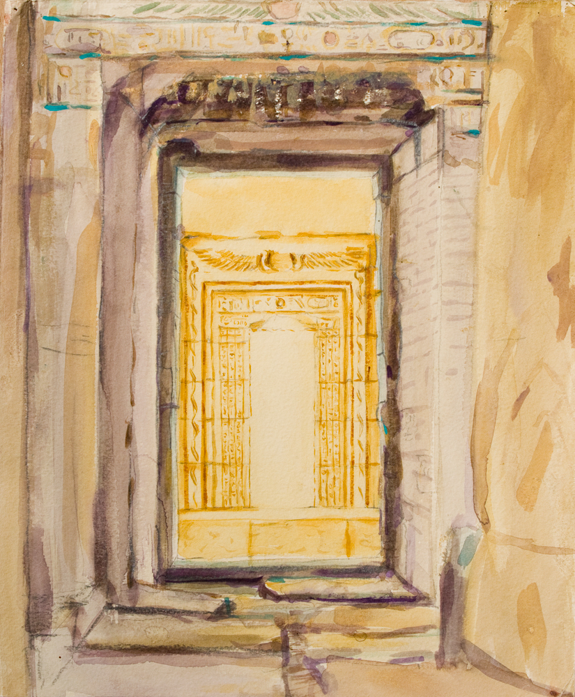 Watercolour painting architecture karnak temple optet golden desert light