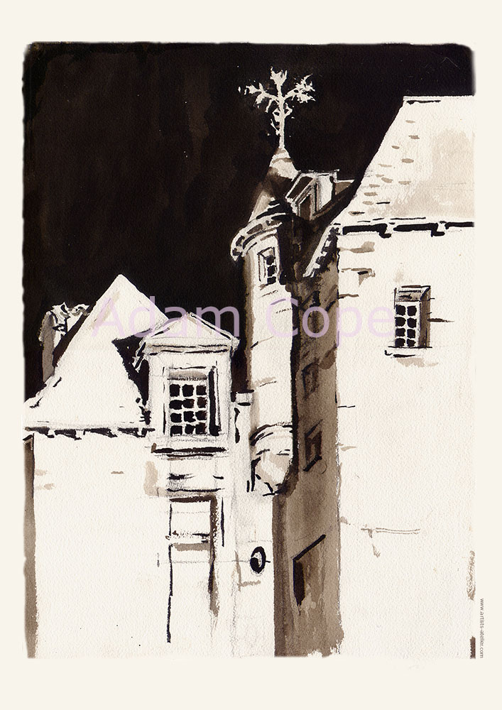 La Maison de Peyrade, Bergerac,encre, dessin, nuit,dordgne,aquarelle
