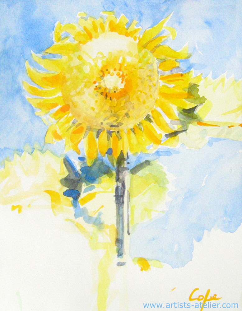 watercolour, sunflower, blues skies, expressive, fauve flowers