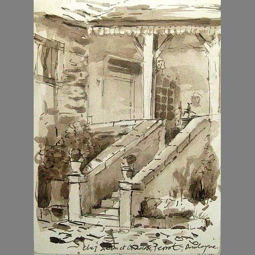 'Perrot, Masion Périgordienne' Pen & Ink. A5 sketchbook