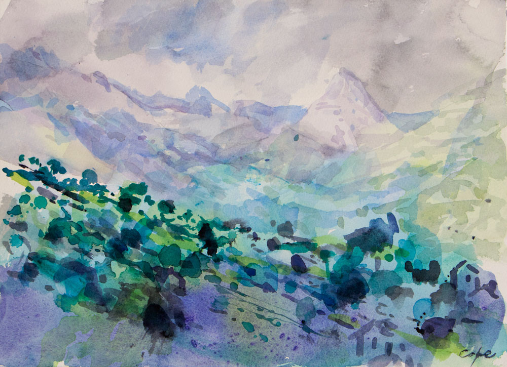 austurias,watercolour,mountains,picos de europa,wet on wet,loose,misty,rocks