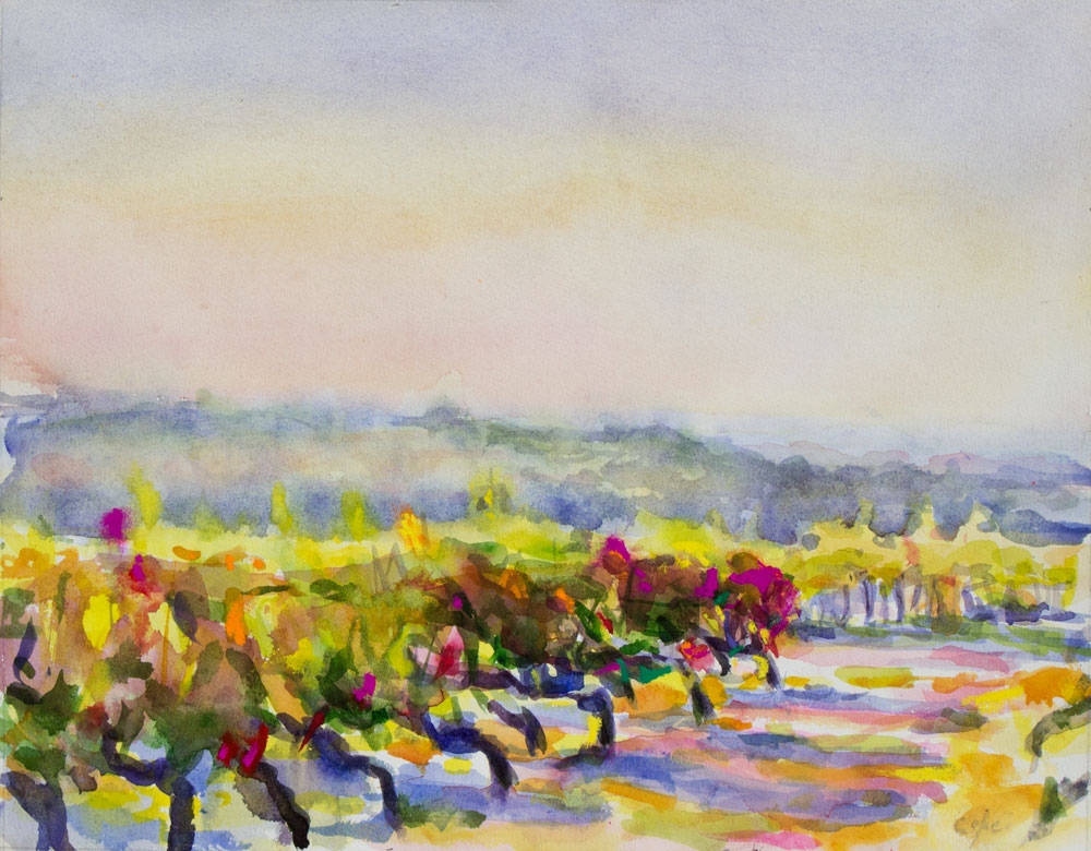 colourist,watercolour,autumn,vines,sunset,south west France, Adam Cope