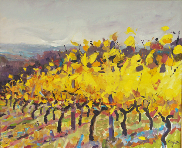vignes,huile, oil painting,dansing vines, expressionism,yellow, autumn,Alla prima, plein air,