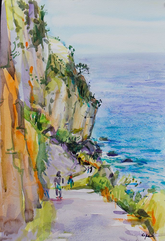 watercolour,beach, spain,colourist, playa,cantabria