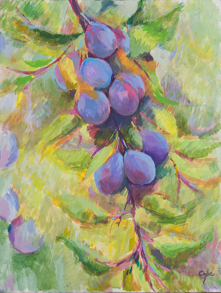 plums, pruneaux dagen, acrylic, art, painting, summer, pleinair, non botanical,